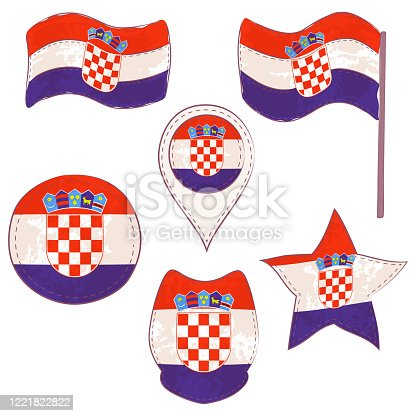 Flag of Croatia Made in Different Variations, as Flag with and without Stick, in a Circle, as Shield, Star and Map Pointer. Flag Shapes with Contours, Decorated with Dotted Stitch and Brush Texture.