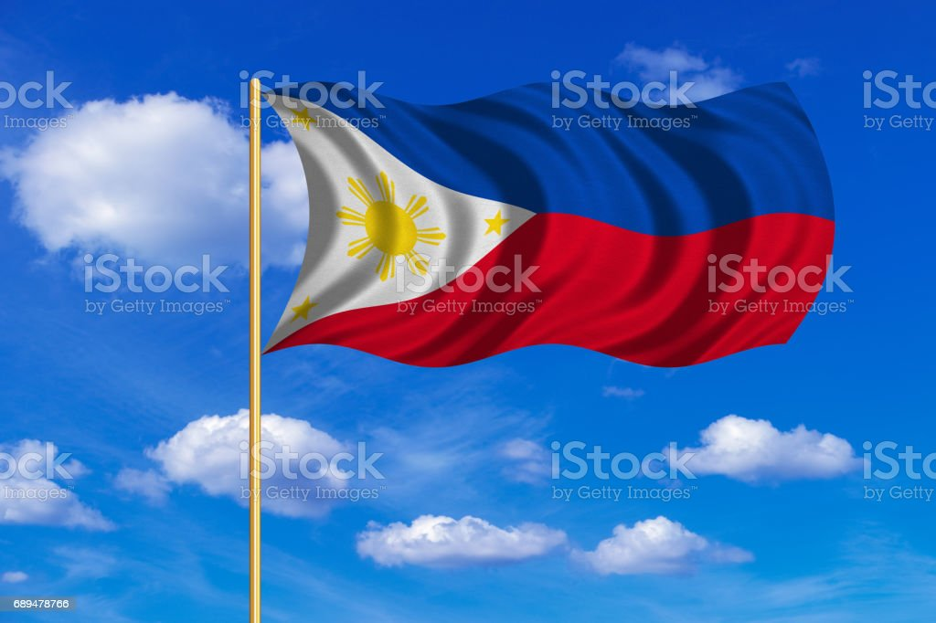 Flag of the Philippines wavy on blue sky backdrop vector art illustration