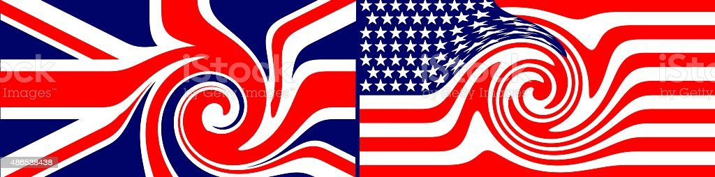 Flag of the united Kingdom VS Flag of the united states of America vector art illustration