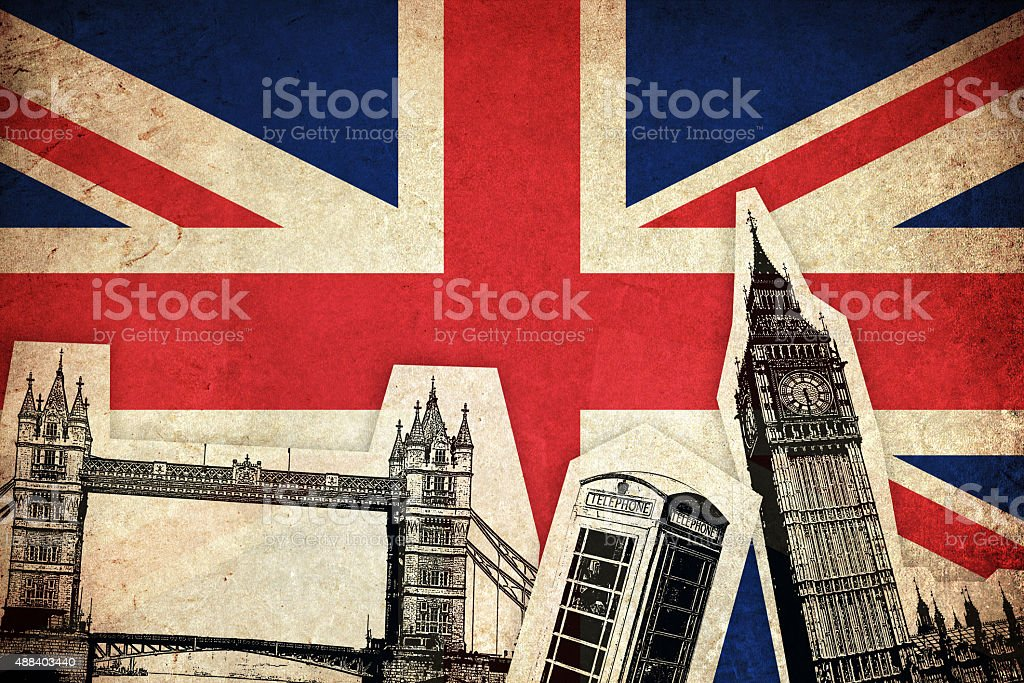 Flag of United Kingdom with monuments vector art illustration
