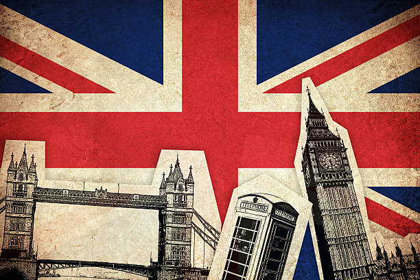 Flag of United Kingdom with monuments Flag of United Kingdom / England country  with monuments england stock illustrations