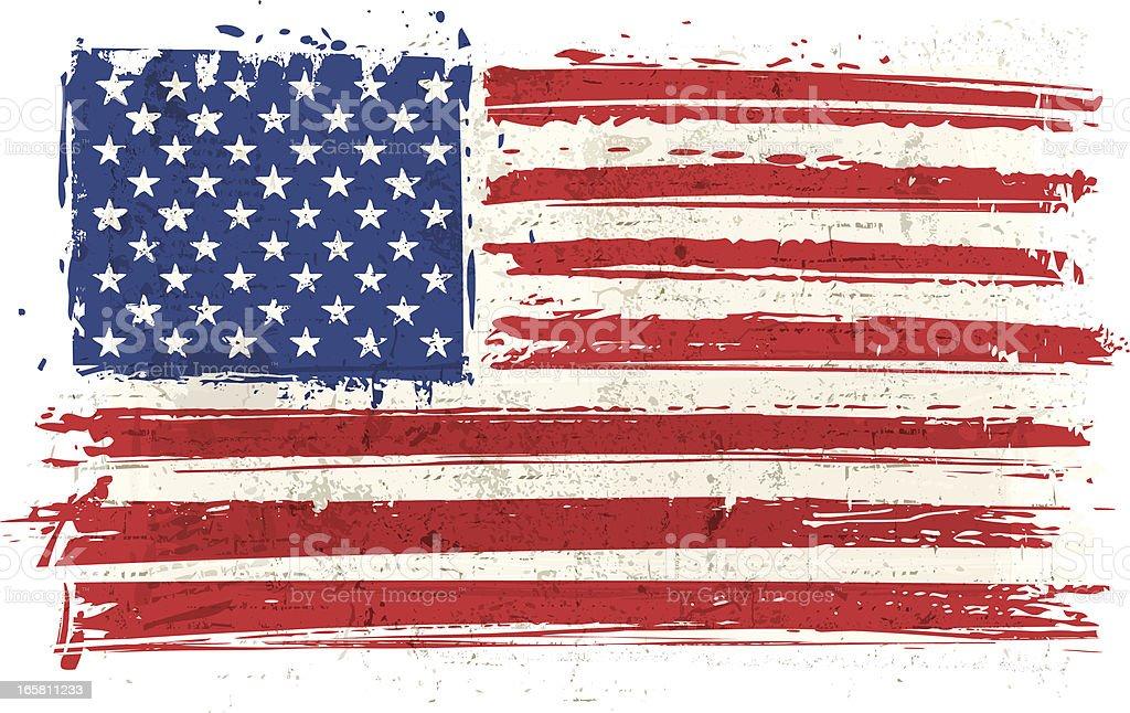 Flag of USA on Wall vector art illustration