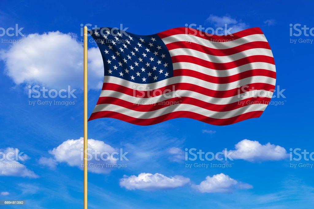 Flag of USA waving on blue sky background vector art illustration