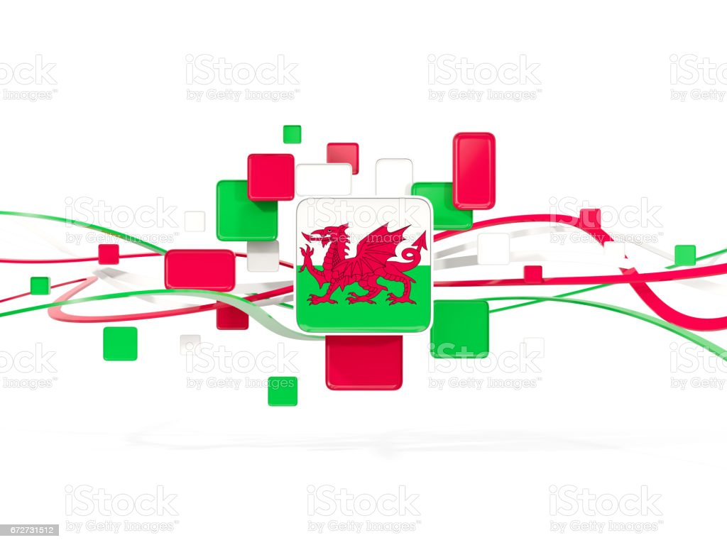 Flag of wales, mosaic background with lines vector art illustration