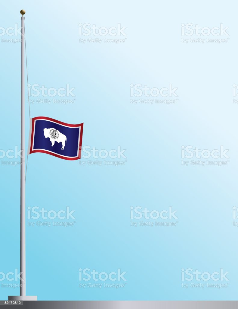 Flag of Wyoming at Half-Staff royalty-free stock vector art