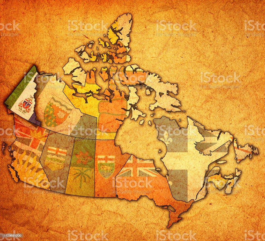 Carte Administrative Canada.Drapeau Du Yukon Sur La Carte Administrative Du Canada Vecteurs Libres De Droits Et Plus D Images Vectorielles De Canada