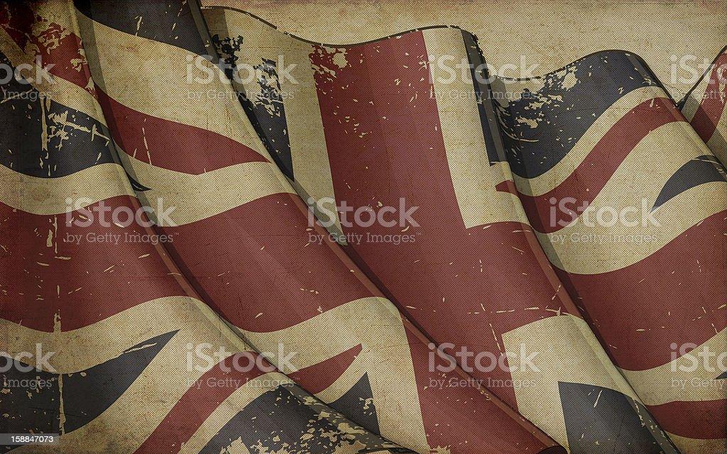 UK Flag Old Paper vector art illustration