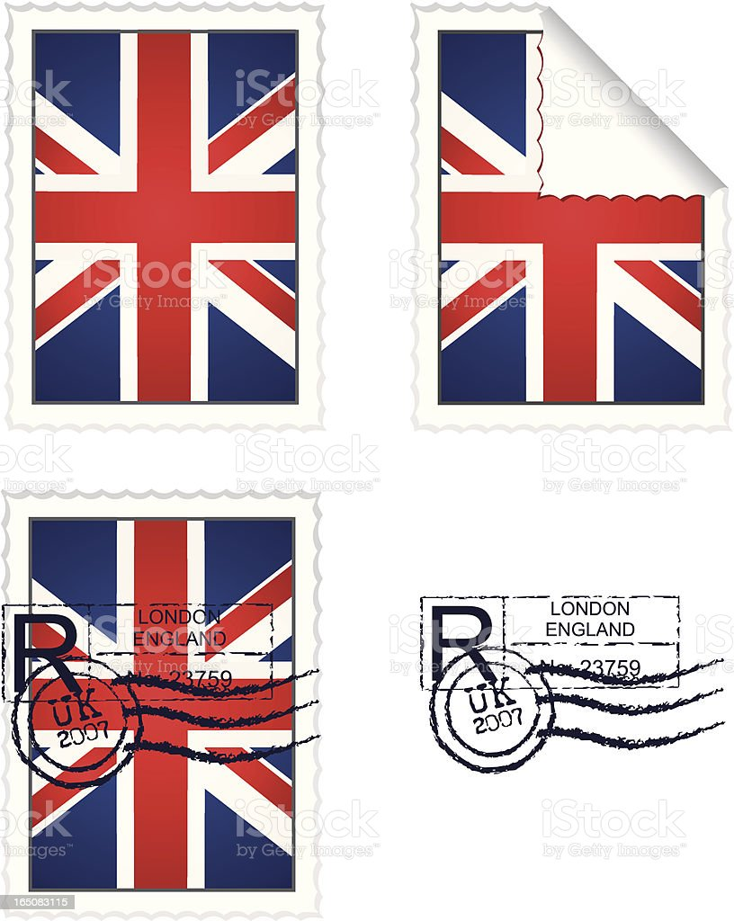 UK Flag Stamp Set royalty-free stock vector art