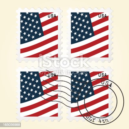 istock US Flag Stamps 165056988