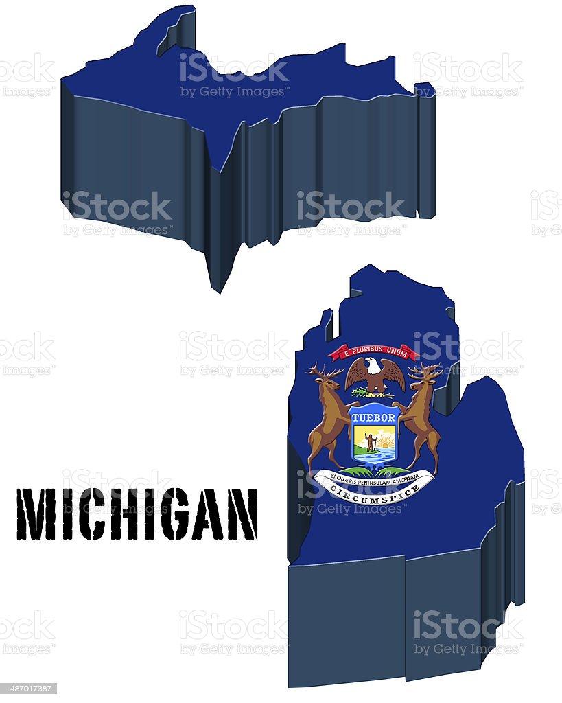 Ilustración de 3 D Bandera Del Estado De Michigan Estados Unidos De ...