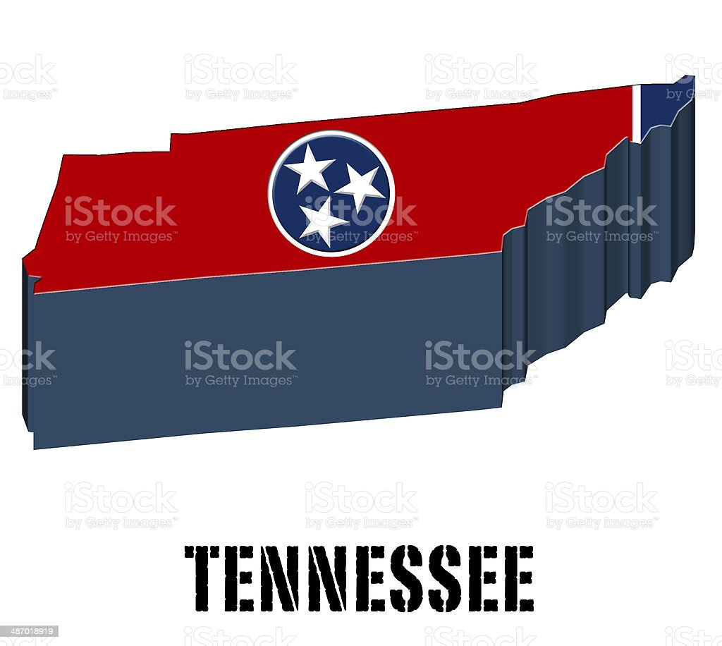 3D flag State of Tennessee United States America vector art illustration