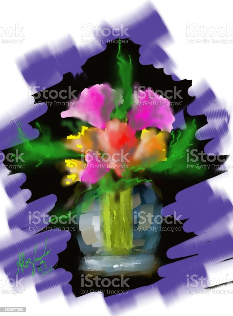 Flagrance of flowers Beautiful illustration of nature, which represents a realistic image, with an impressionistic artistic style. Art stock illustration