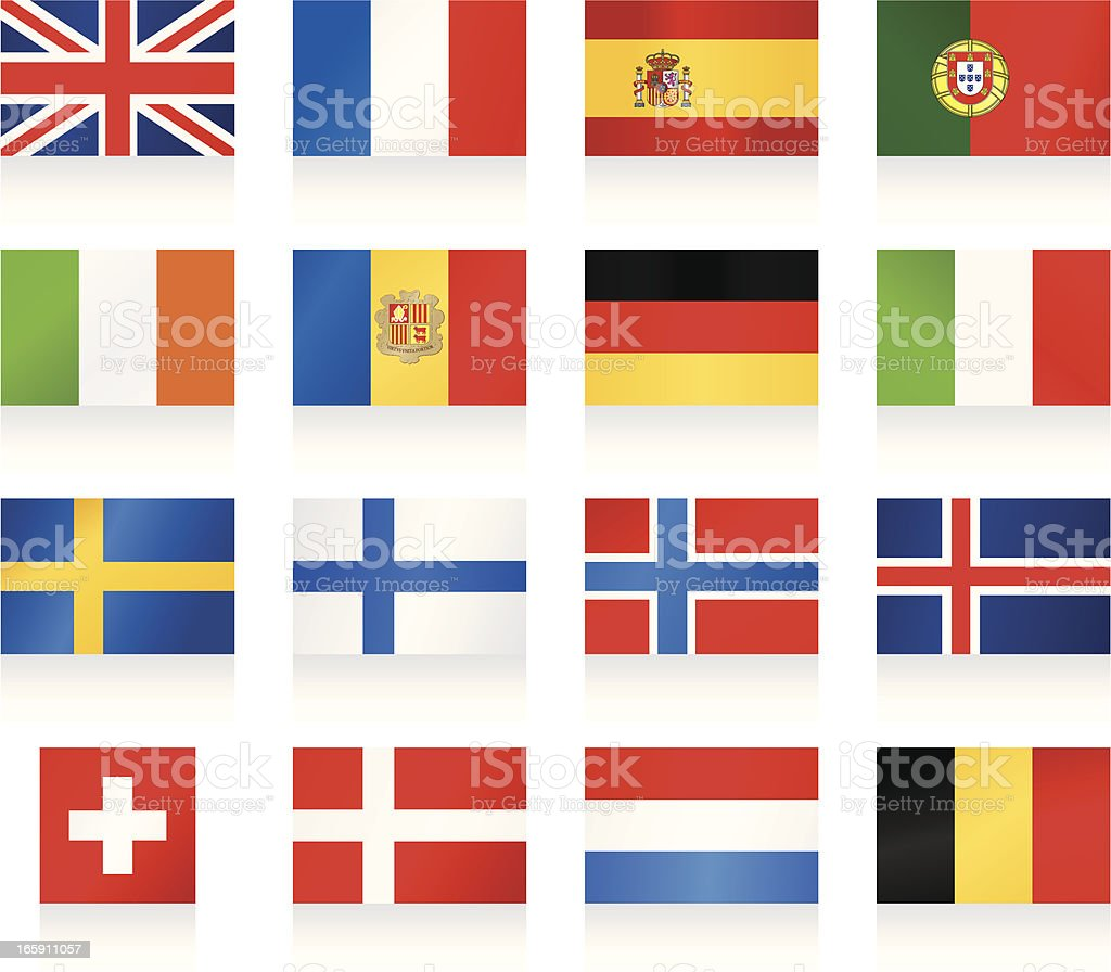 Flags collection 1 - Western and Nothern Europe vector art illustration