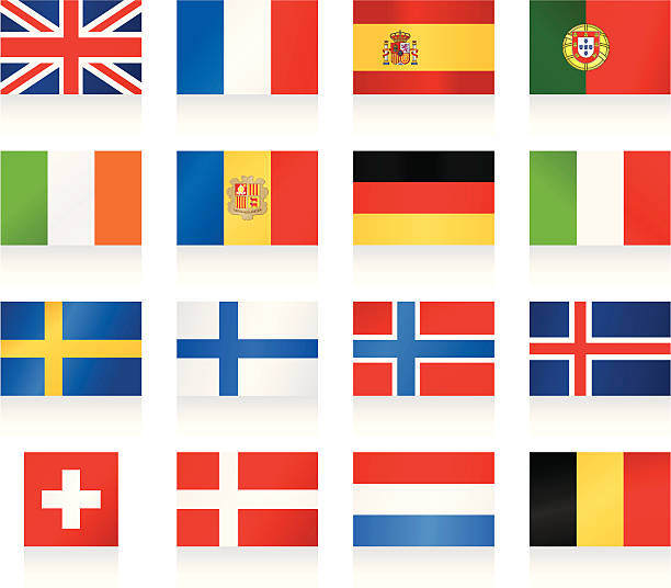 flags collection 1 - western and nothern europe - spanish flag stock illustrations, clip art, cartoons, & icons