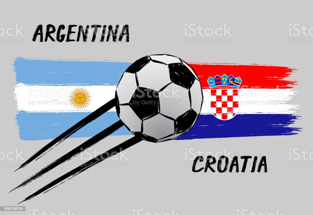 Banderas de Argentina y Croacia - icono para Campeonato del balompié - Grunge - ilustración de arte vectorial