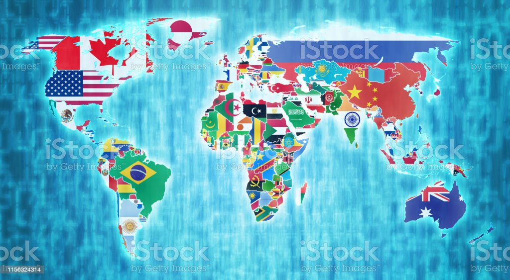 Flags Of Countries On Digital Map Of World Stock Illustration ... on