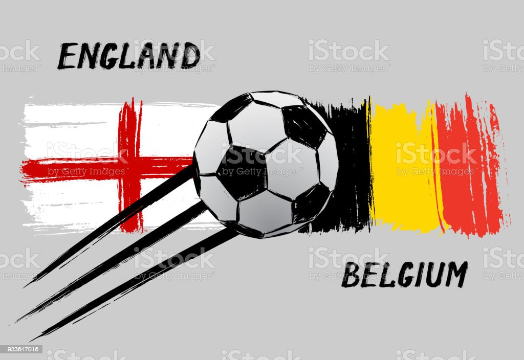 Flags of England and Belgium -  Grunge vector art illustration
