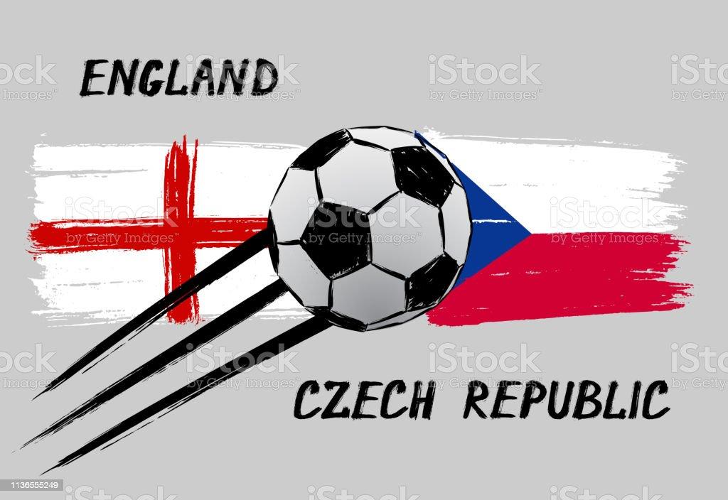 Flaggen Von England Und Tschechienikone Fur