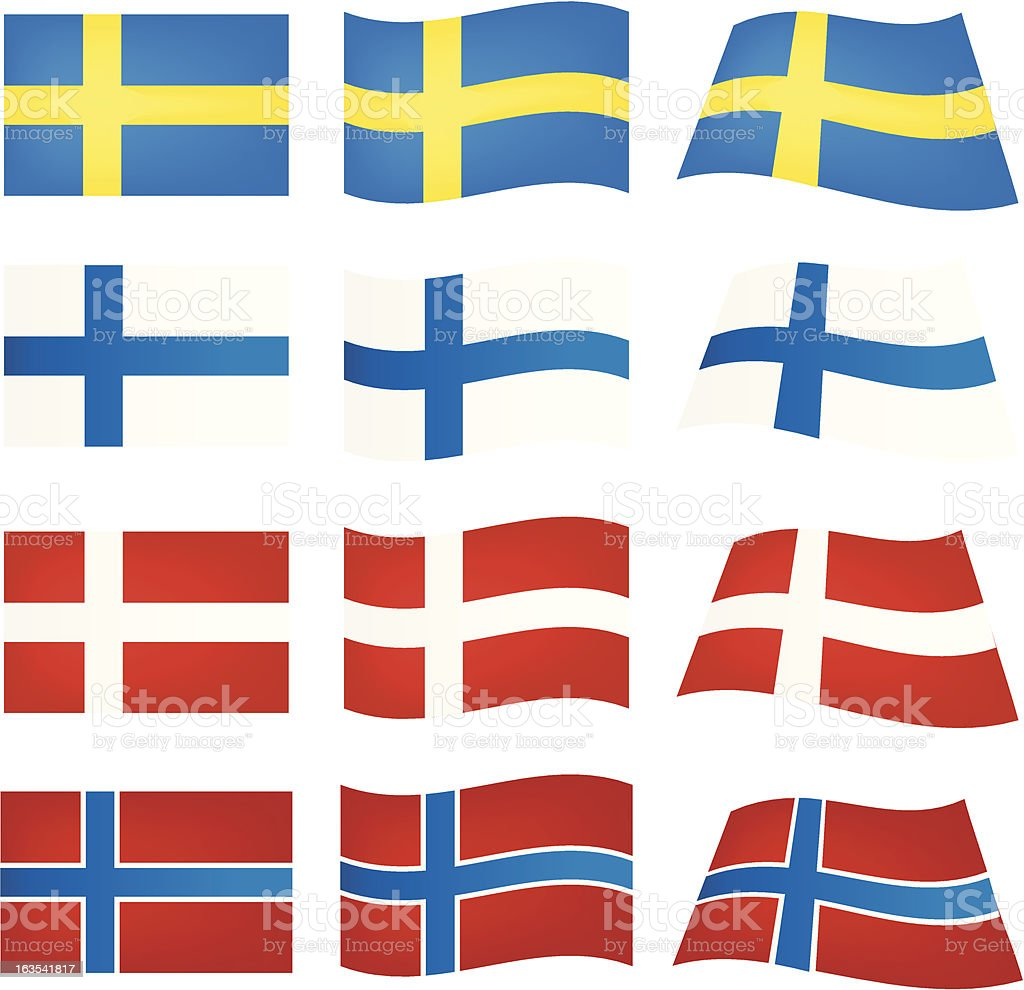 Flags of Scandinavia royalty-free stock vector art