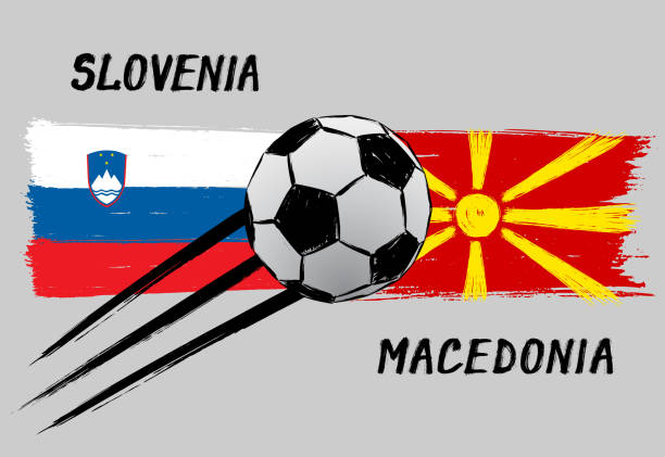 flags of slovenia and macedonia - icon for euro football championship qualify - grunge - macedonia country stock illustrations, clip art, cartoons, & icons