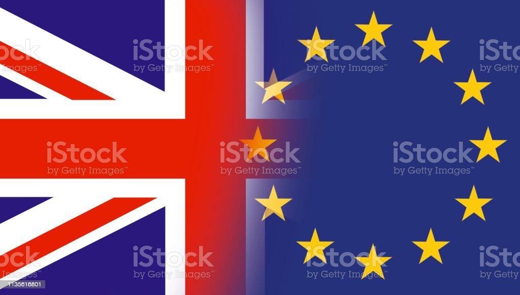 ヨーロッパ連合旗の星とイギリスの旗英国国旗と Eu 旗の組み合わせ英国 ...