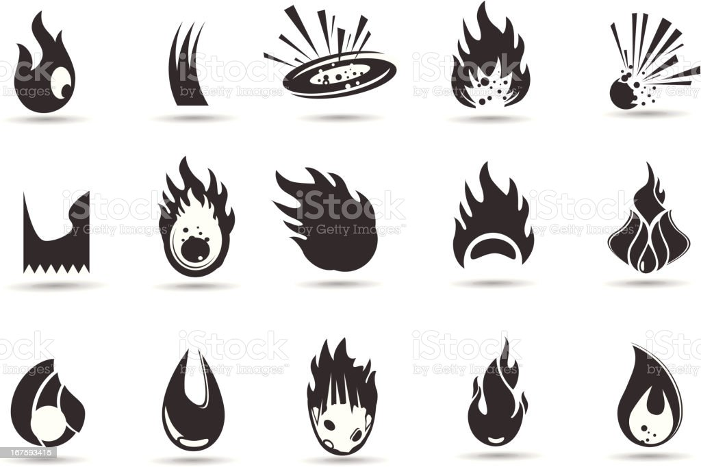 Flame and Fire Symbols vector art illustration