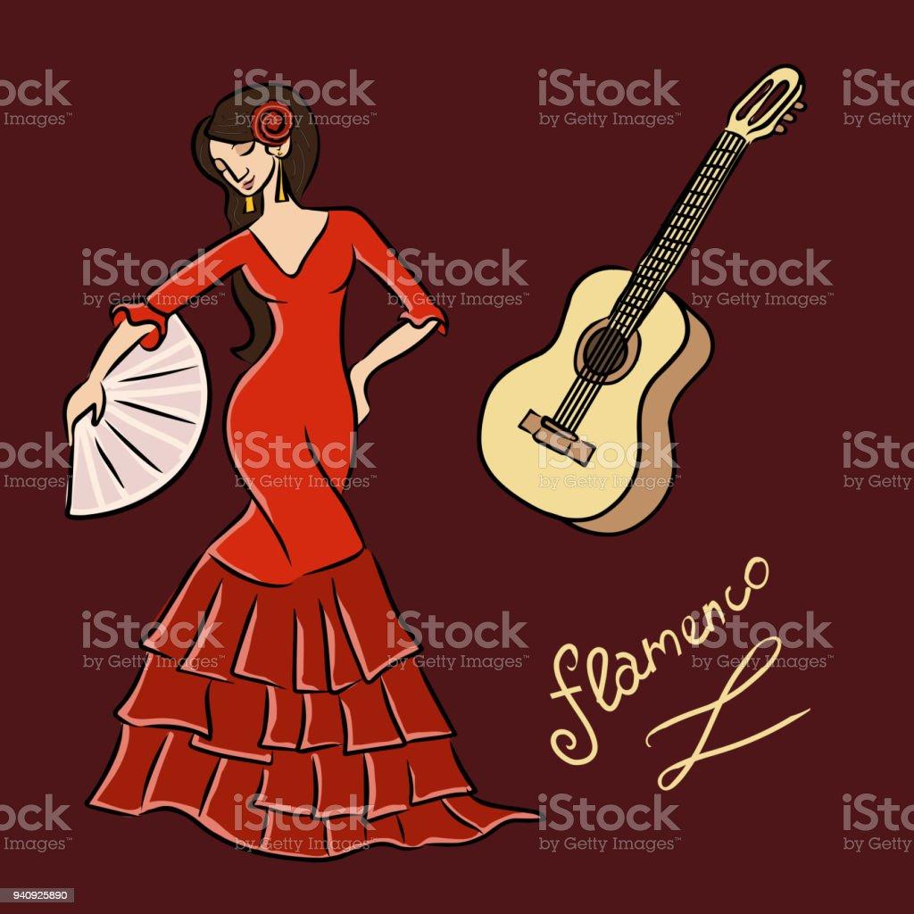 guitarra de bailarina ilustración banco de guitarra y flamenco flamenco de y Bailarina y de más 6TSt4nYTw