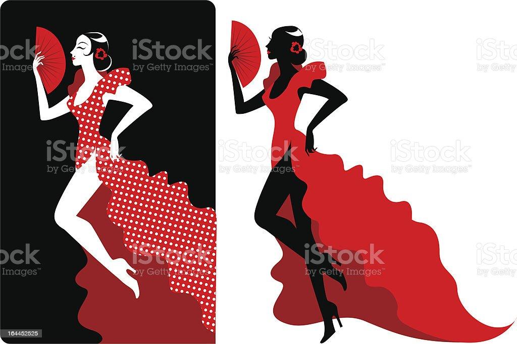 Flamenco dander - ilustración de arte vectorial