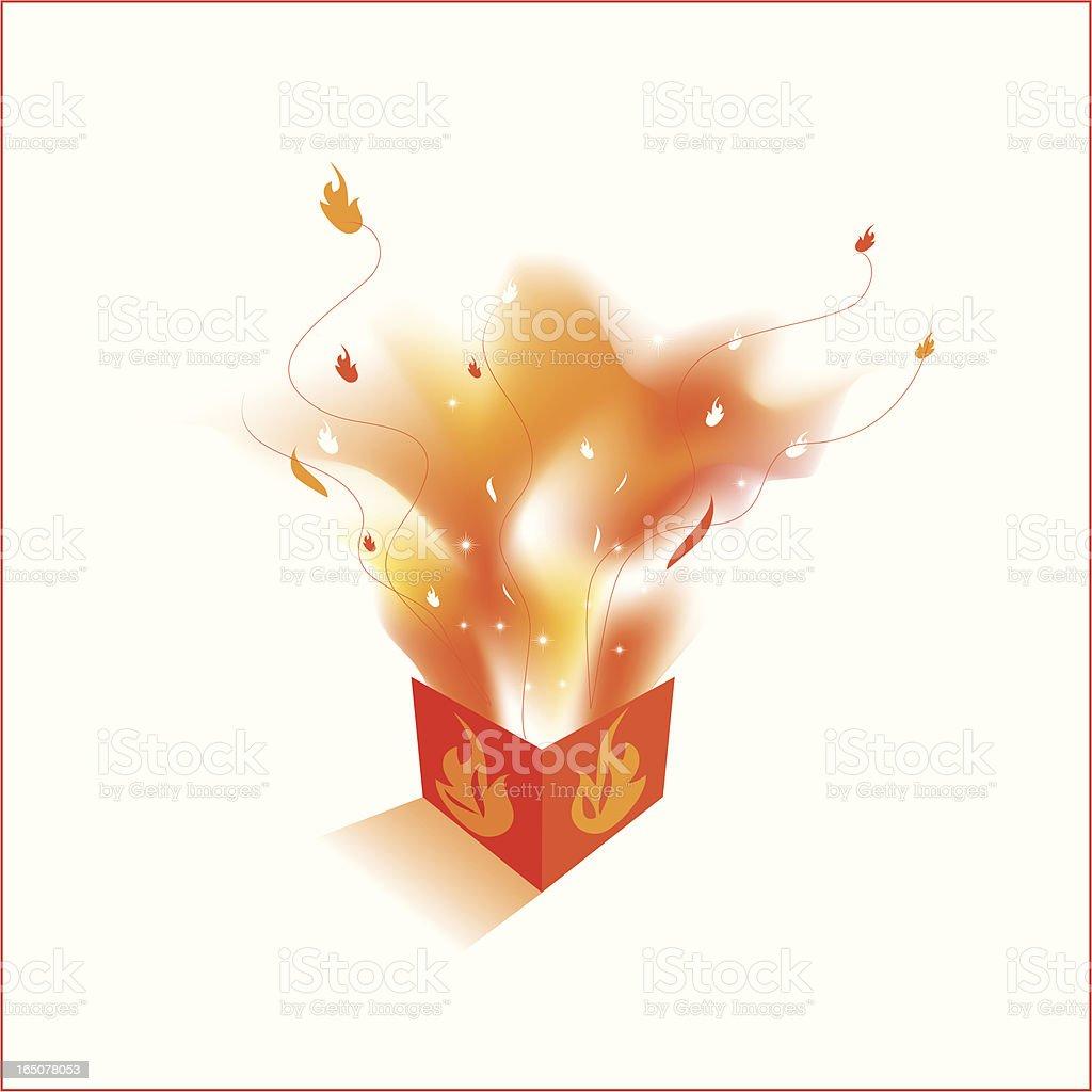 Flaming box royalty-free stock vector art
