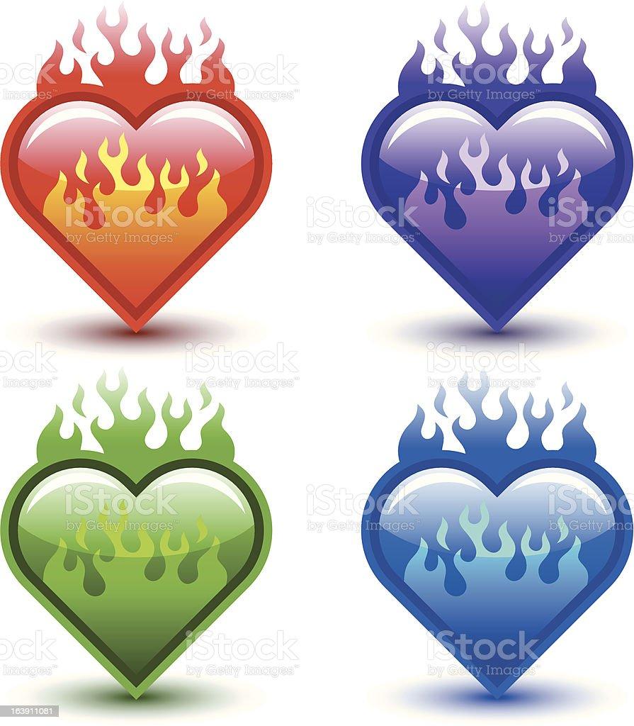 flaming hearts royalty-free stock vector art