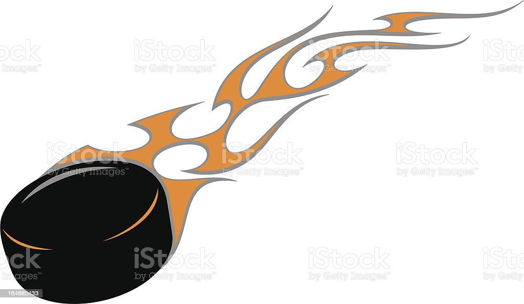 Flaming Hockey Puck (Vector) vector art illustration