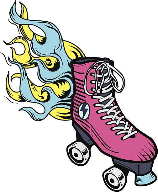 flaming roller skate - rollschuh stock-grafiken, -clipart, -cartoons und -symbole