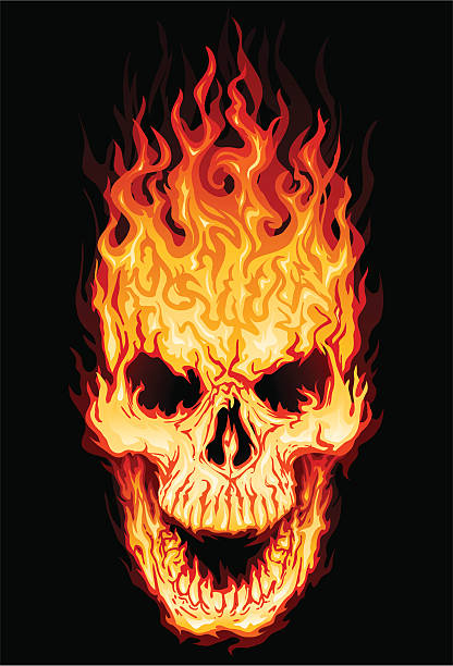 flaming skull - fire tattoos stock illustrations, clip art, cartoons, & icons