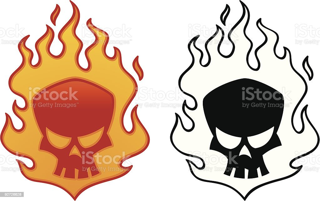 Flaming Skull vector art illustration