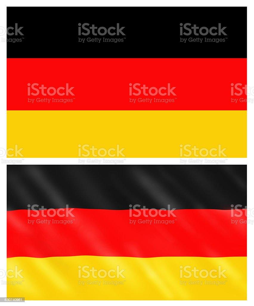 Flat and waving Germany flag vector art illustration