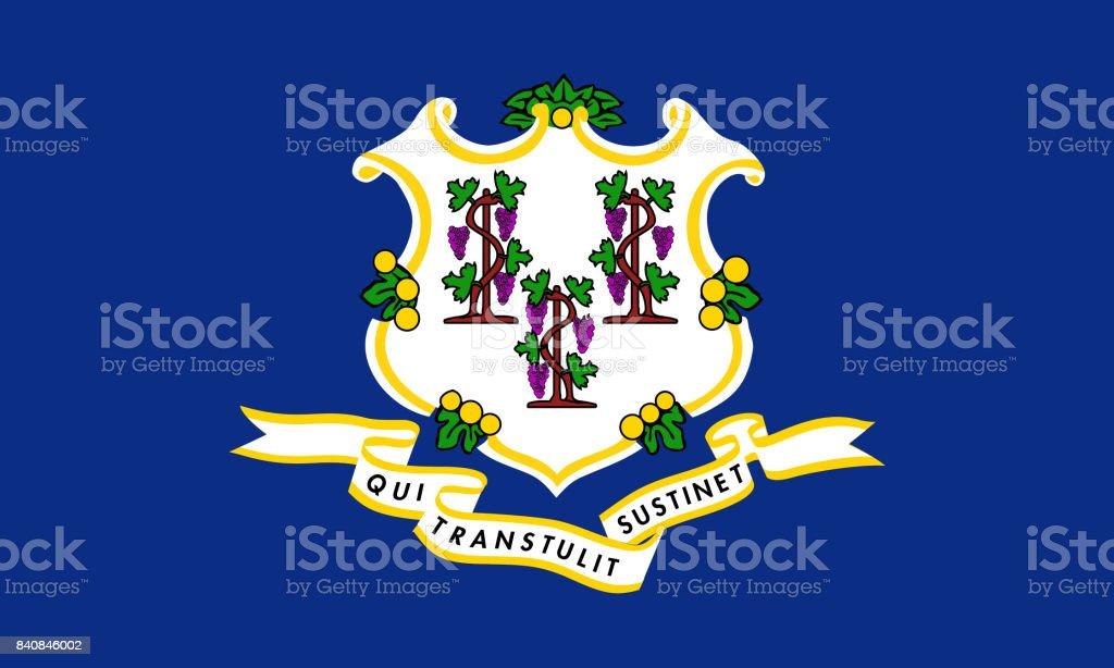 plano de bandeira do estado de connecticut - EUA - ilustração de arte em vetor