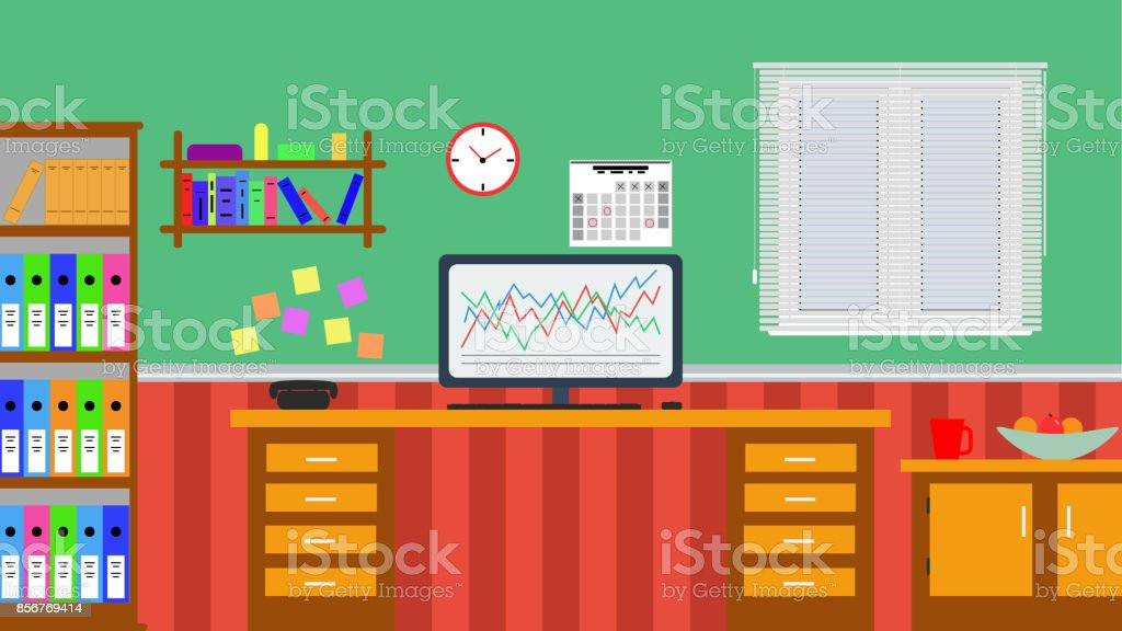 Flat Design Illustration Of A Home Office With Venetian Blinds Stock