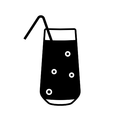 Flat glass juice icon for concept design