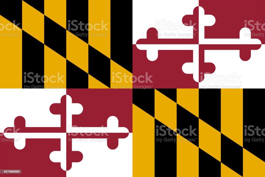 plano de bandeira do estado de maryland - EUA - ilustração de arte em vetor