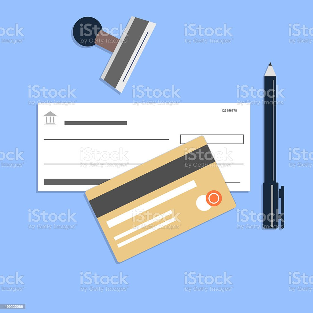 Flat style checkbook credit card vector art illustration