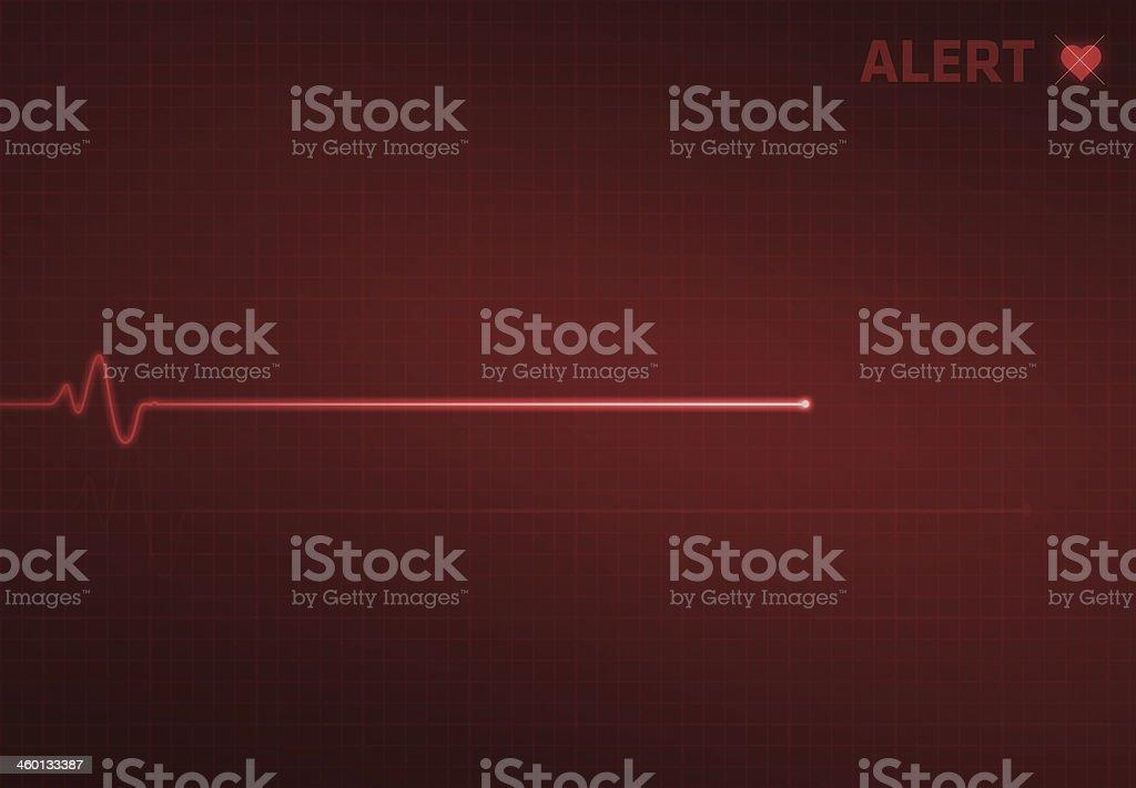 Flatline Heart Monitor - Alert vector art illustration
