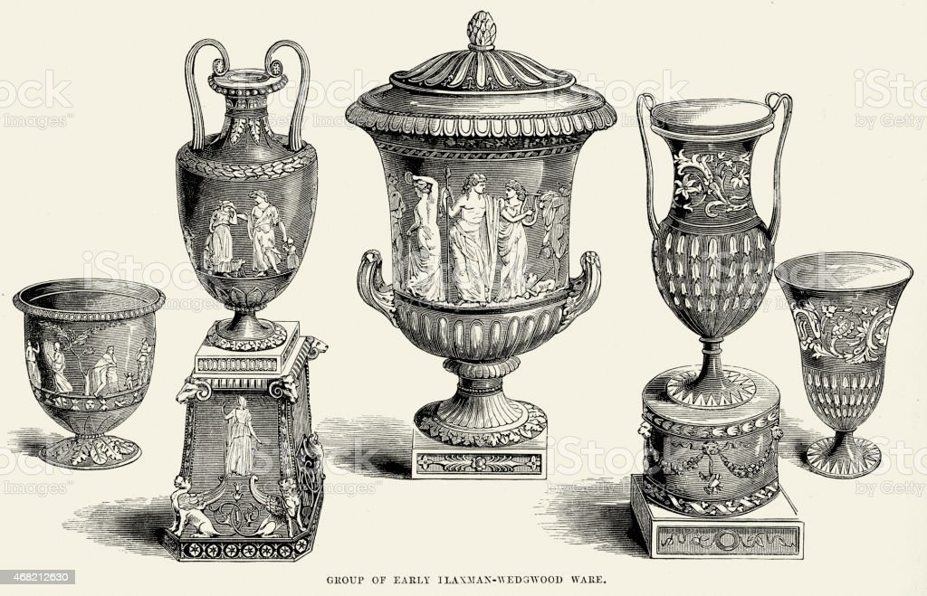 Flaxman Wedgewood Urns And Vases 19th Century Stock Vector Art