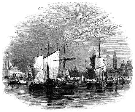 Fleet of Merchant Ships in Venice, Italy - 16th Century