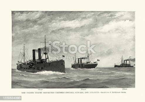 Vintage engraving of a Fleet of US Navy warships, late 19th Century, Protected cruisers, USS Chicago, USS Newark and USS Atlanta