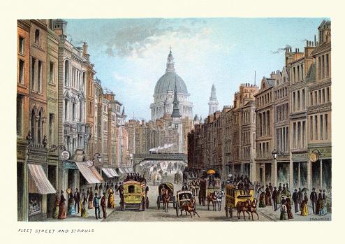 Vintage illustration Fleet Street and St Paul's, Victorian London, 19th Century