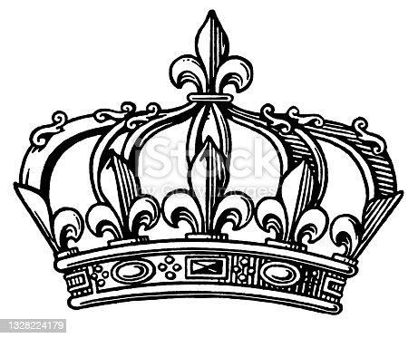 istock Fleur-de-lis Crown 1328224179