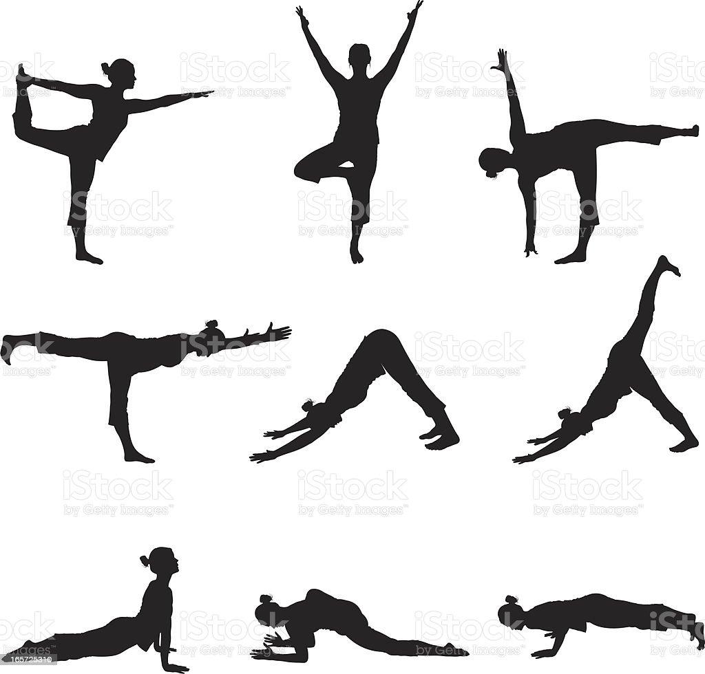 Flexible female doing yoga royalty-free stock vector art