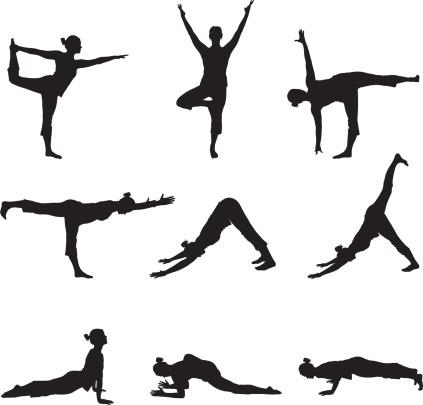 Flexible female doing yoga