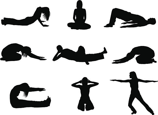 stockillustraties, clipart, cartoons en iconen met flexible men and women in yoga positions - buigen lichaamsbeweging