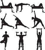 Flexible women working out